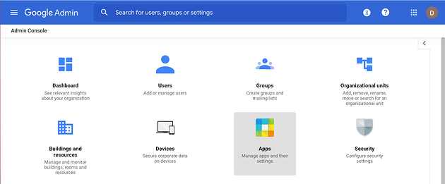 1. Google admin, main menu, zoomed
