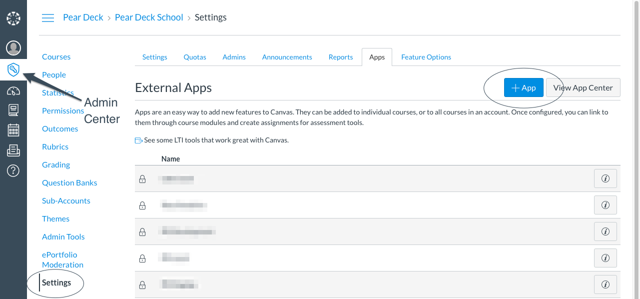 Canvas, admin center, settings, view app configurations, +app, cropped