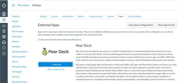 Canvas, app center, pear deck, add app button