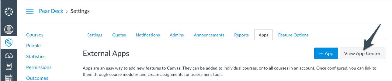 Canvas, settings, click on view app center with arrow