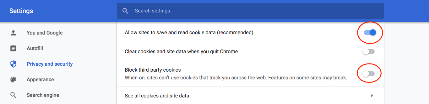 Cookies settings, chrome, allow all, red circles