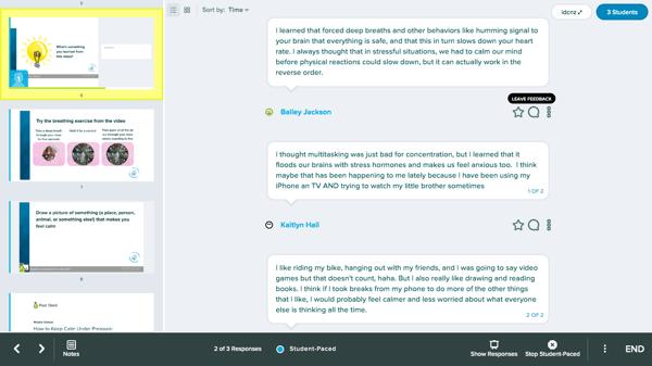 Dashboard, text, leave feedback