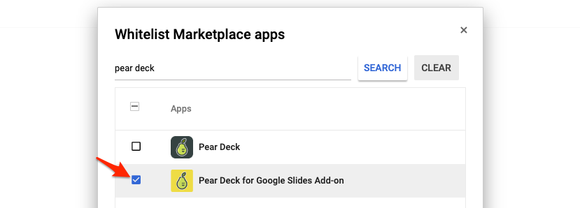 G suite admin, whitelist, select pear deck