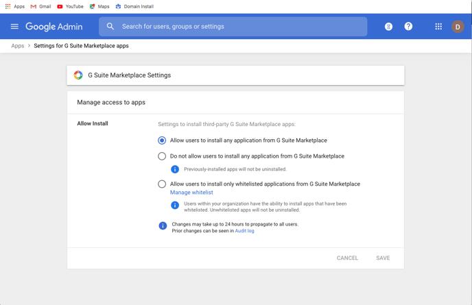 Google admin, g suite marketplace settings
