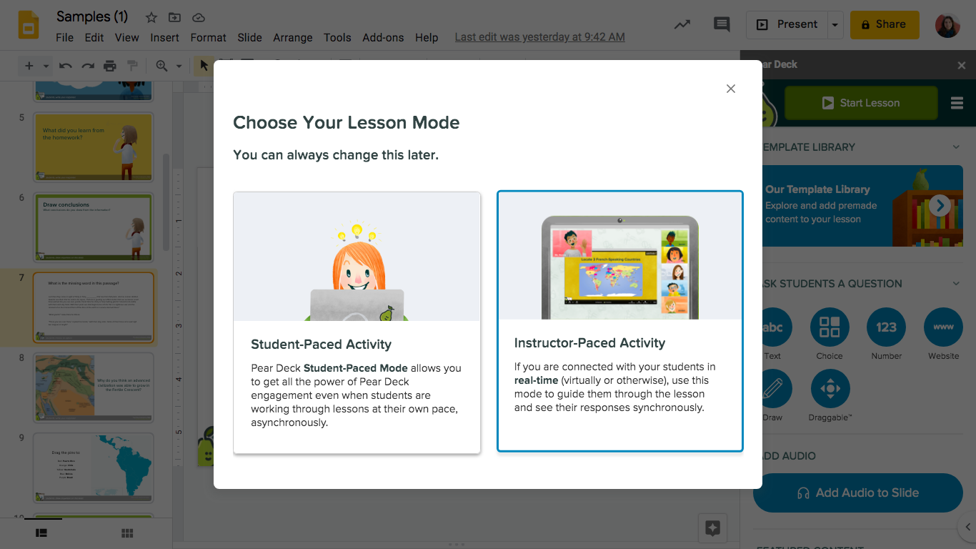 Gslides, presenter modal, instructor-paced selected