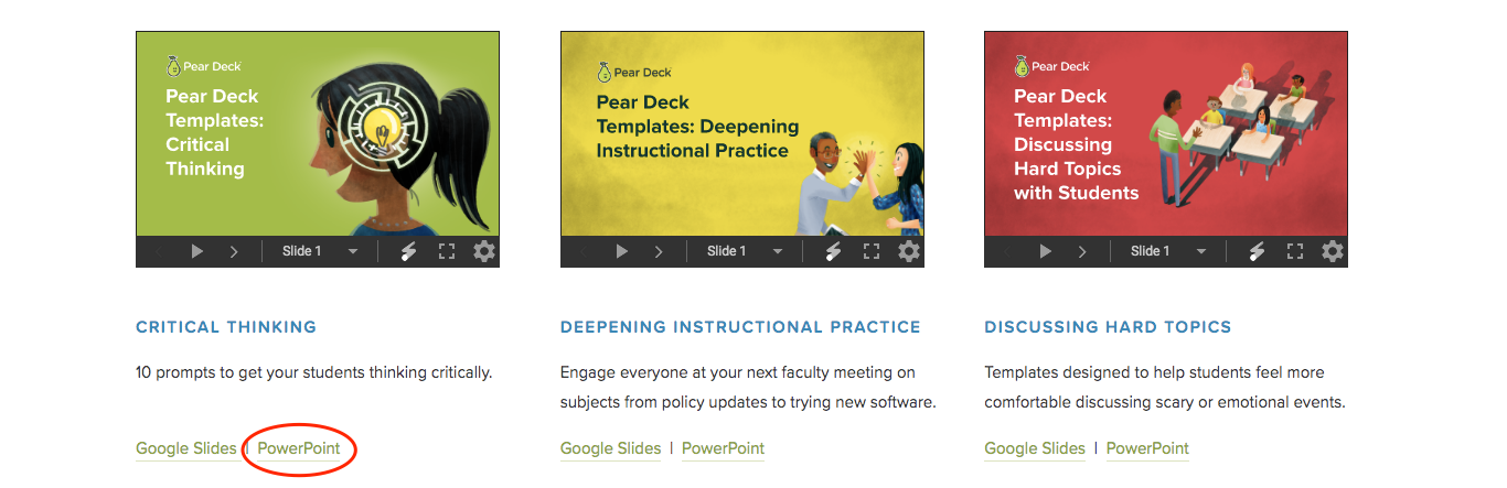 Pear deck templates page, powerpoint circled