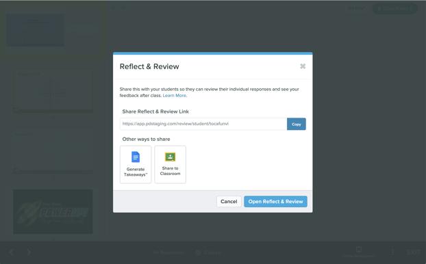 Reflect & review modal