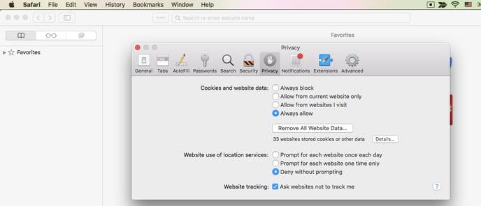 Safari > preferences > privacy > always allow