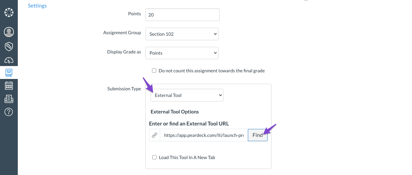 Schoology assignment, submission type, external tool, pear deck, arrows, zoomed