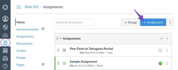Schoology, add assignment button, arrow