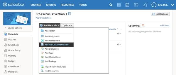 Schoology, add materials, add filelinkexternal tool, no tools added