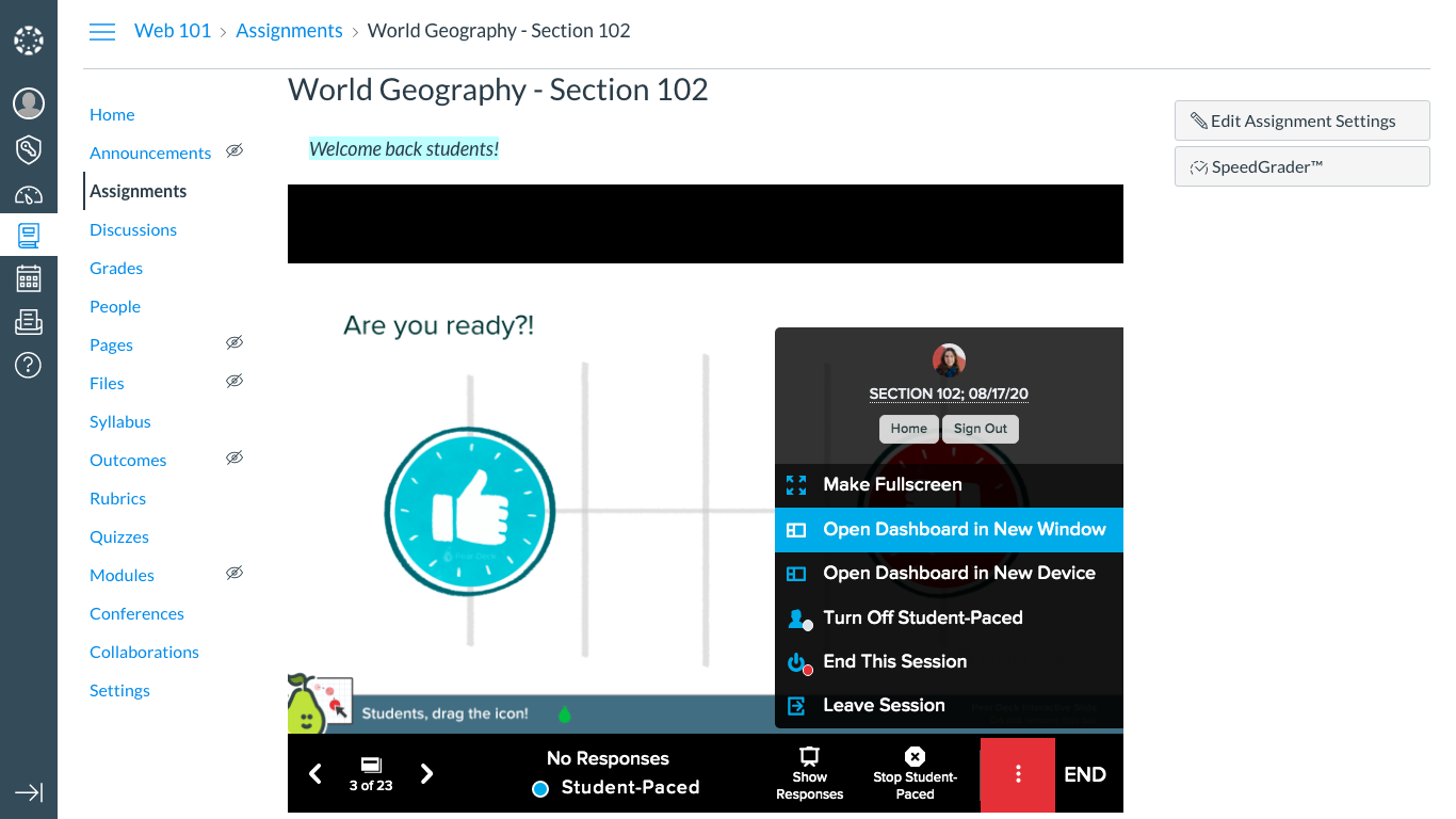 Schoology, assignment, student-paced, more actions, open dashboard