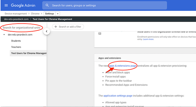 google admin console, apps and extensions, red arrow-1