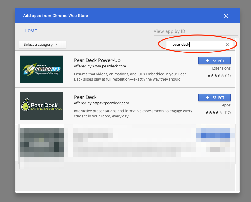 google admin console, search for pear deck