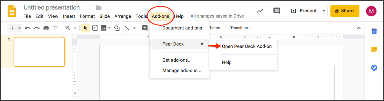 Gslides, open the add-on