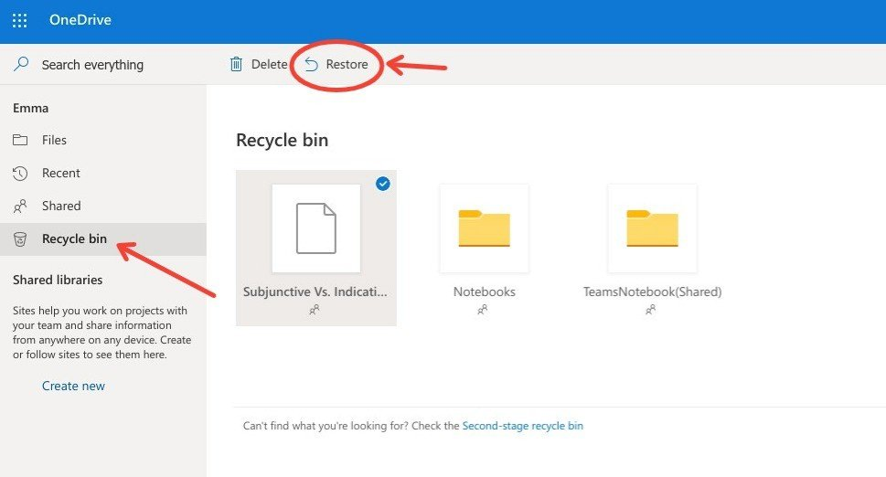 Screenshot of Recycle bin - OneDrive - Edited