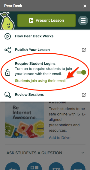 Sidebar, require student logins on, red arrow